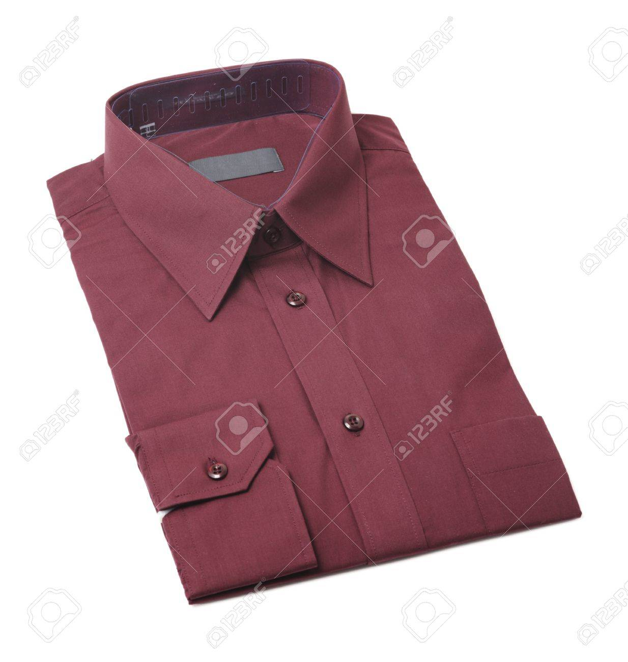 Dark Red Men's Dress Shirt Folded On White Stock Photo- Picture ...