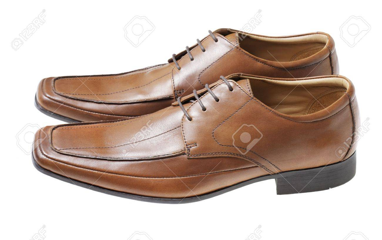 Men's Brown Leather Dress Shoes Isolated On White Stock Photo ...