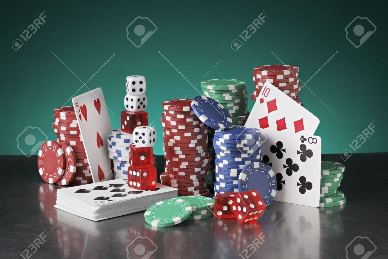 Still life with poker chips, playing cards and dice. - 5613959