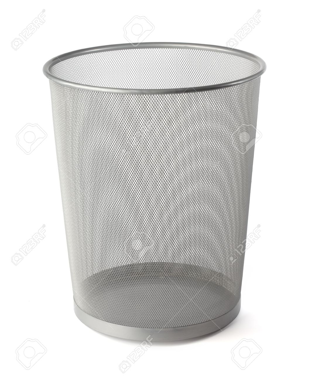 Waste Basket empty grey metallic mesh waste basket on white stock photo