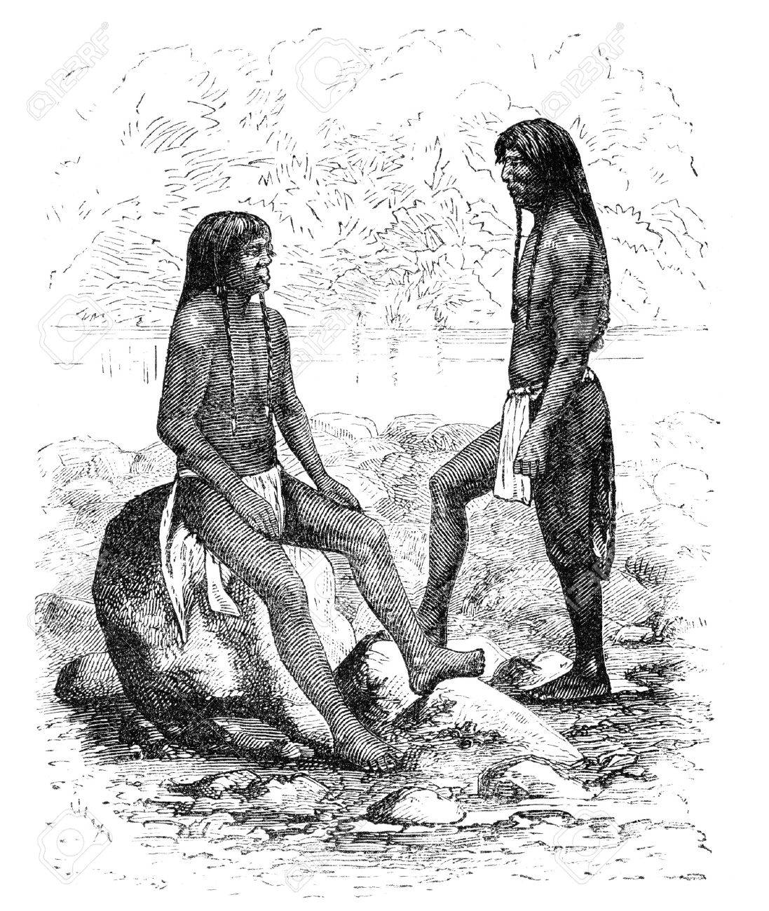 Navajo native americans in Arizona. Illustration originally published in Ernst von Hesse-Wartegg's