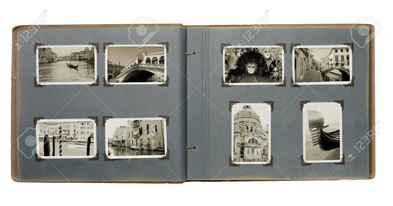 Old photo album with (new) photos from Venice, Italy. Stock Photo - 11085098
