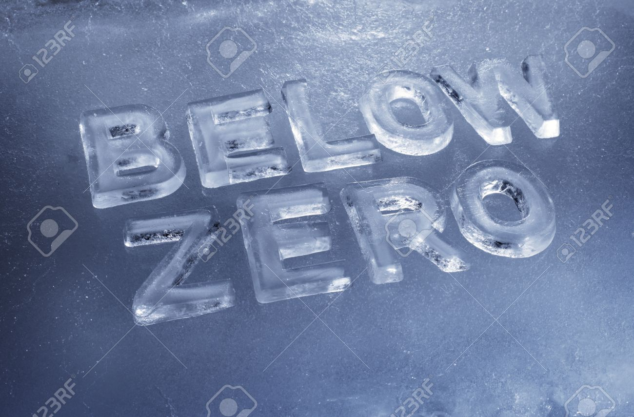 Words Below Zero made of real ice letters. Stock Photo - 12956459