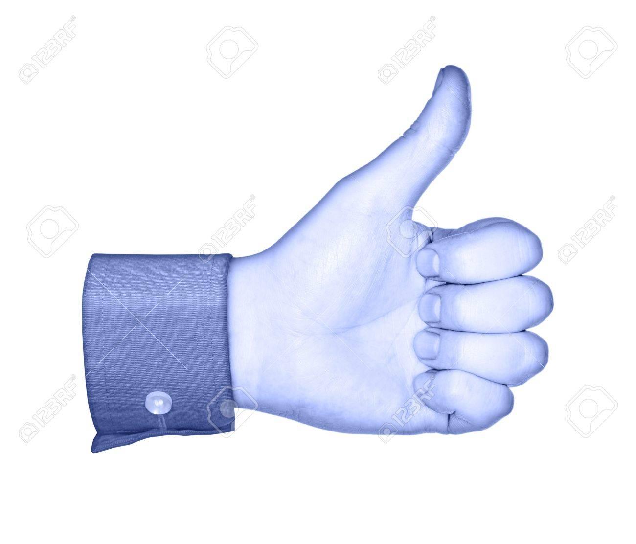 Conceptual image of a blue hand, similar to social media