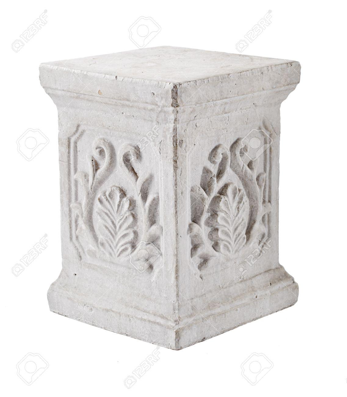 columna de los pilares de yeso decorativo aislado en blanco foto de archivo
