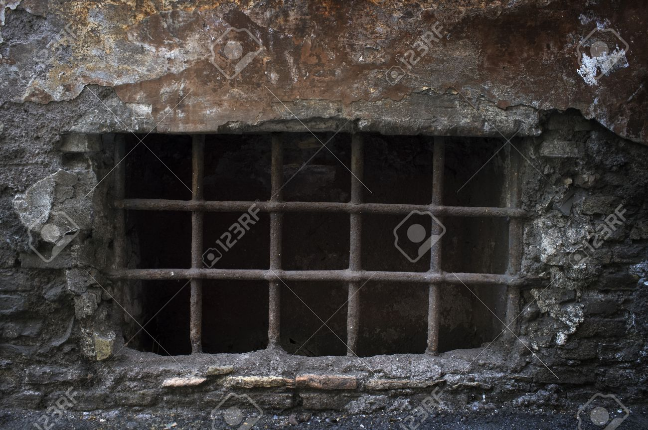 Old creepy cellar window with bars. Stock Photo - 32917218 & Old Creepy Cellar Window With Bars. Stock Photo Picture And Royalty ...
