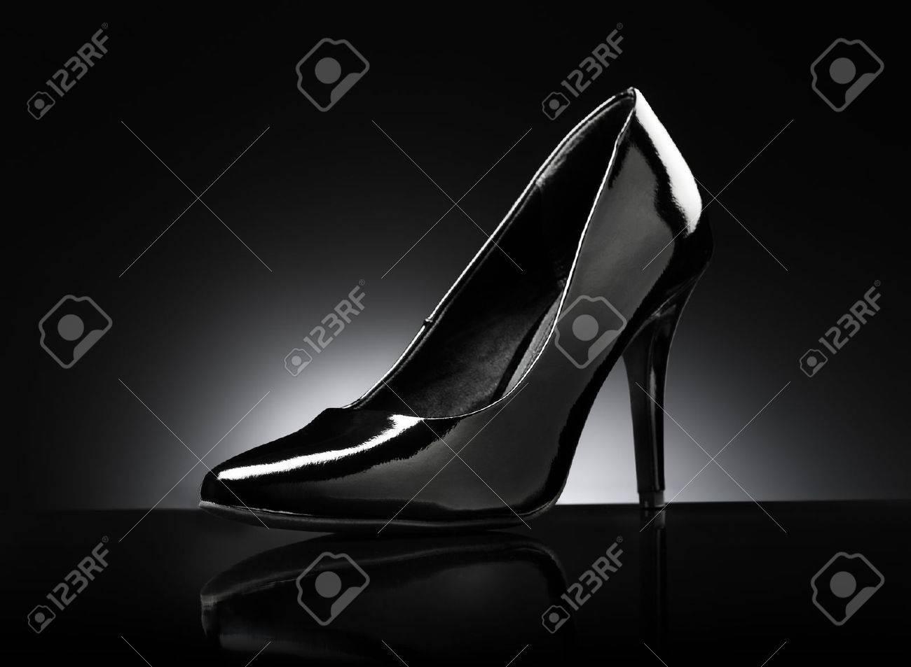 black glossy pumps