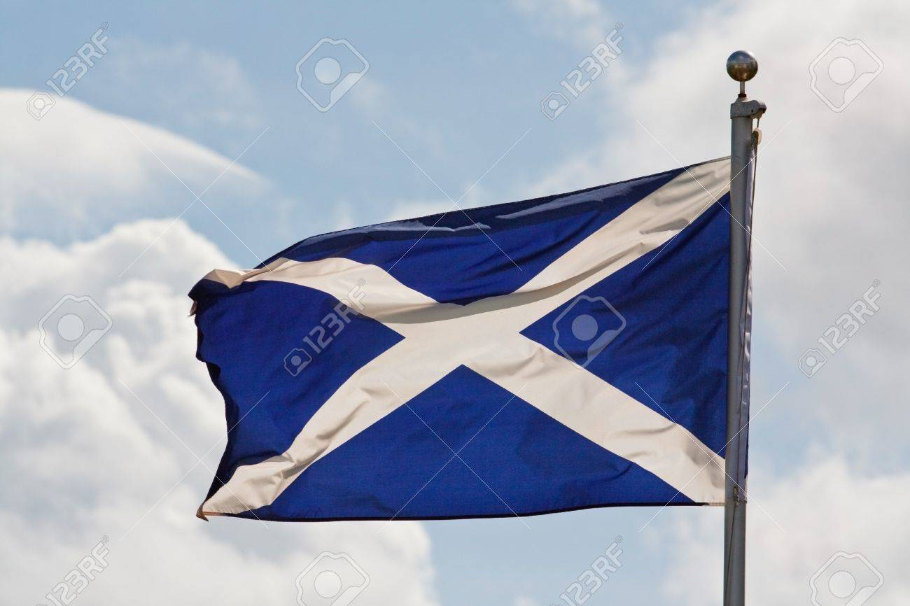 the blue and white cross of st andrew the national flag of