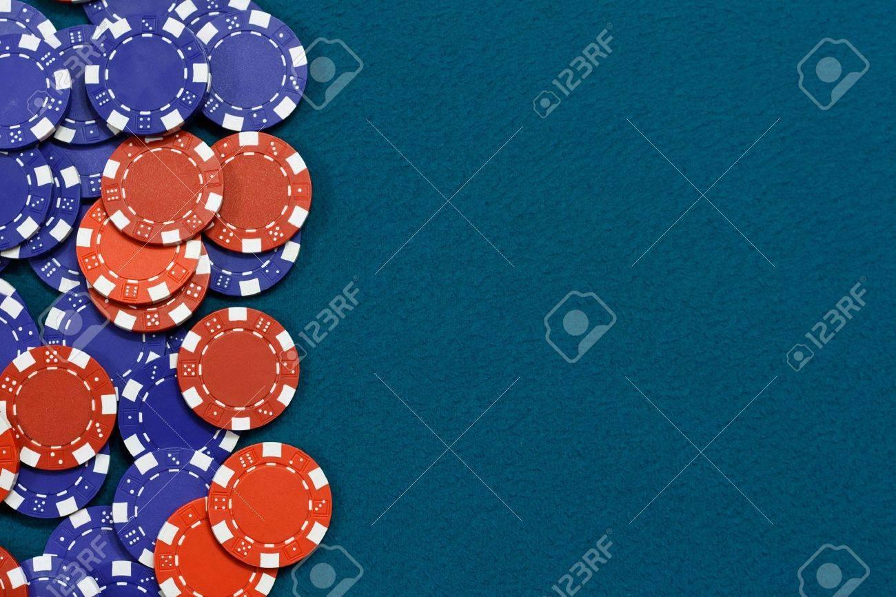 Blackjack table wallpaper - Blackjack Table Gambling Chips Frame On Blue Card Table Background