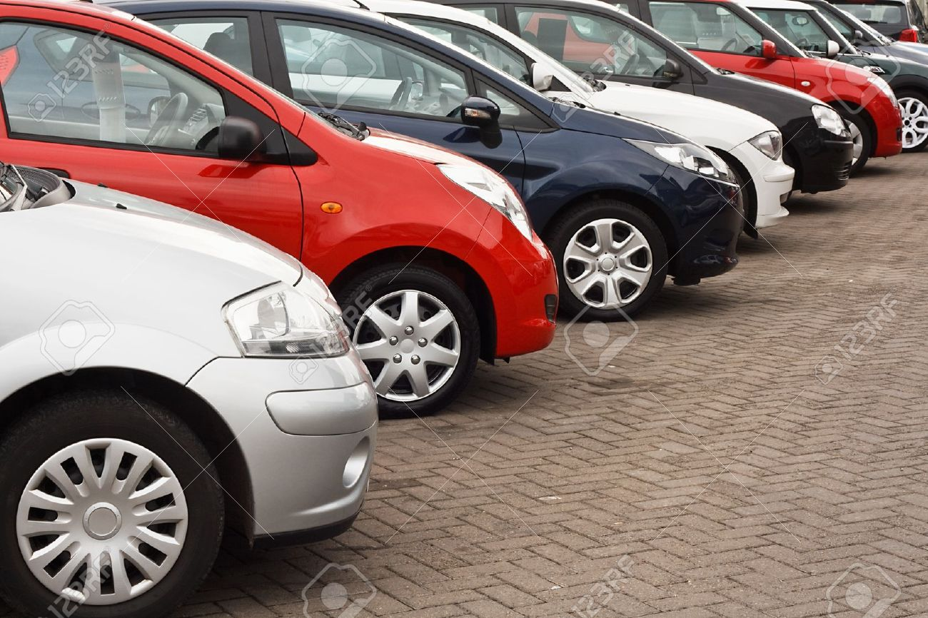Row Of Different European Marques Of Used Cars For Retail Sale ...