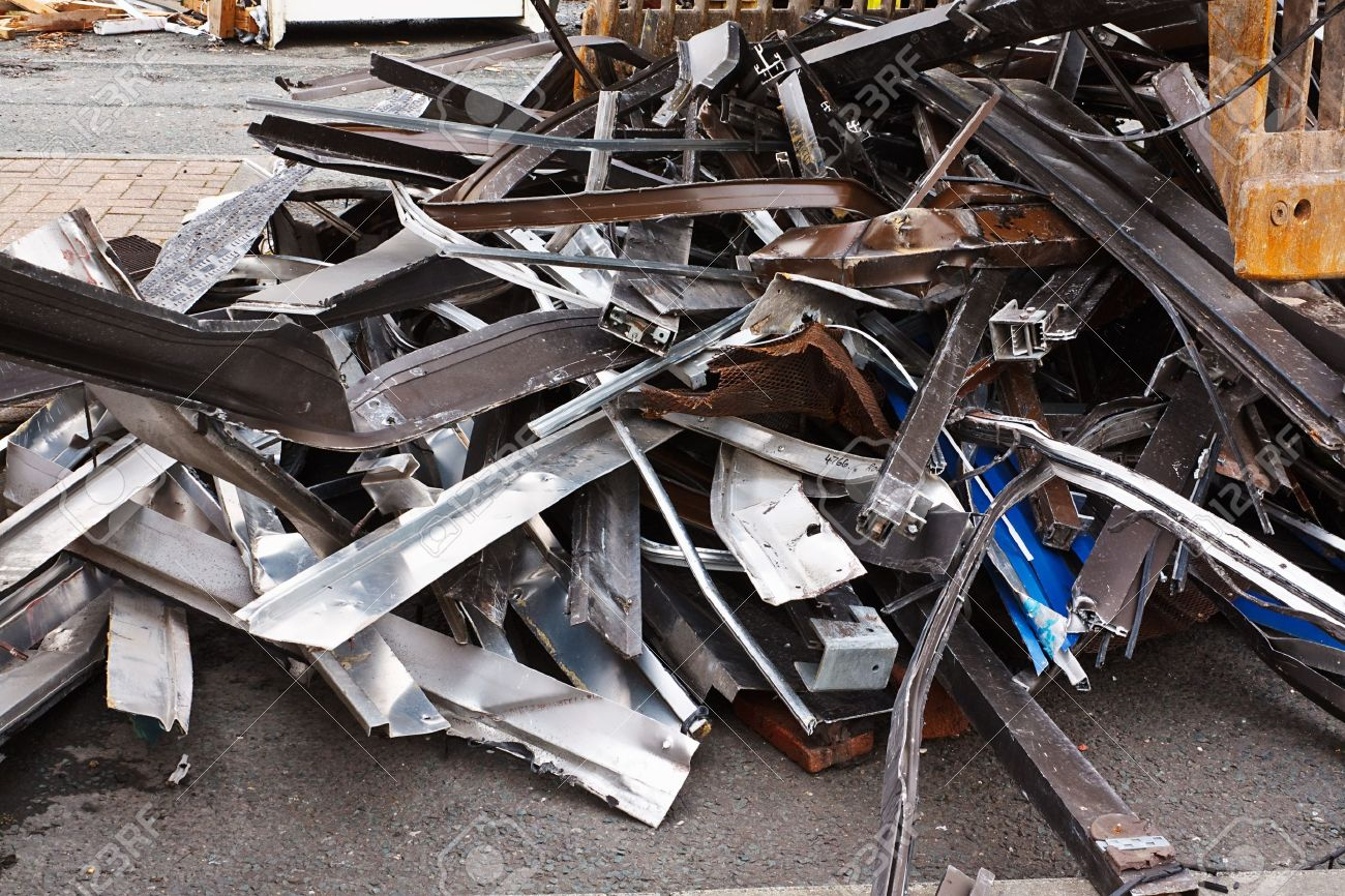 Scrap metal waste of iron and aluminum for recycling at a demolished building site Stock Photo - 19968487