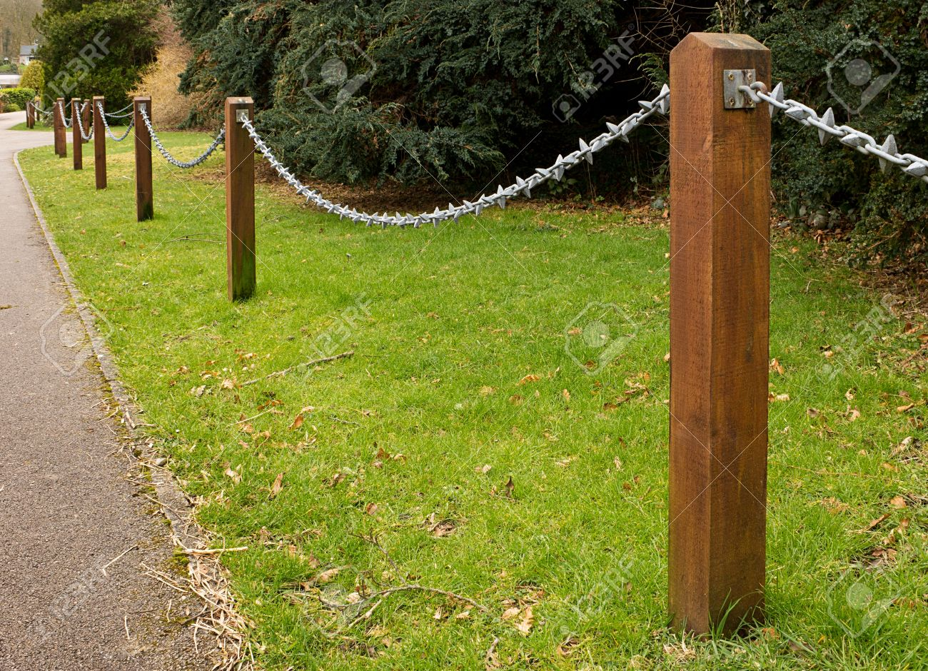 Post And Chain Fence Down The Side Of A Driveway A Popular ...