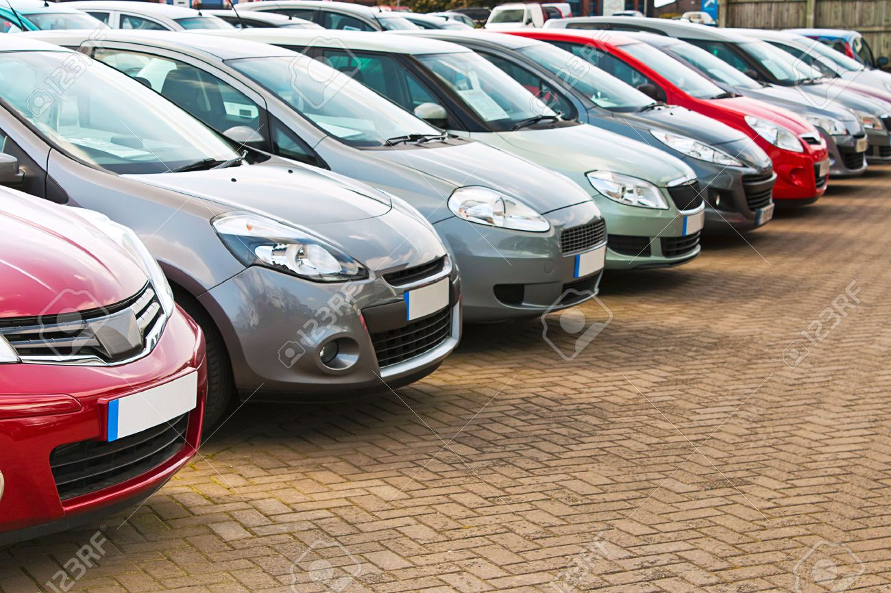 Line Up Of Various Types Of Used Cars For Sale On A Motor Dealers ...