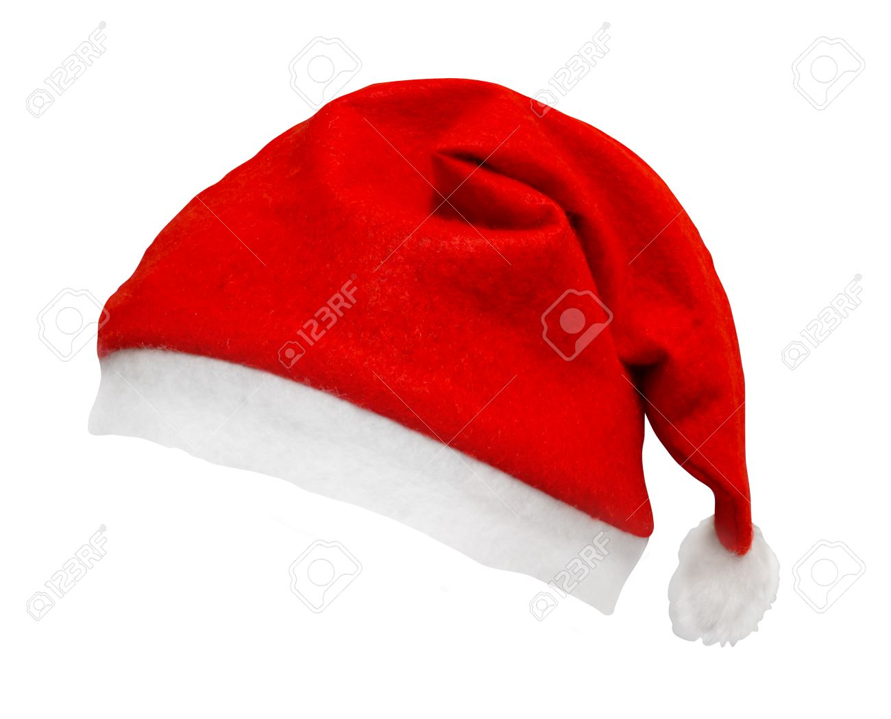 Christmas Santa Hat Isolated Against A White Background Tilted ...