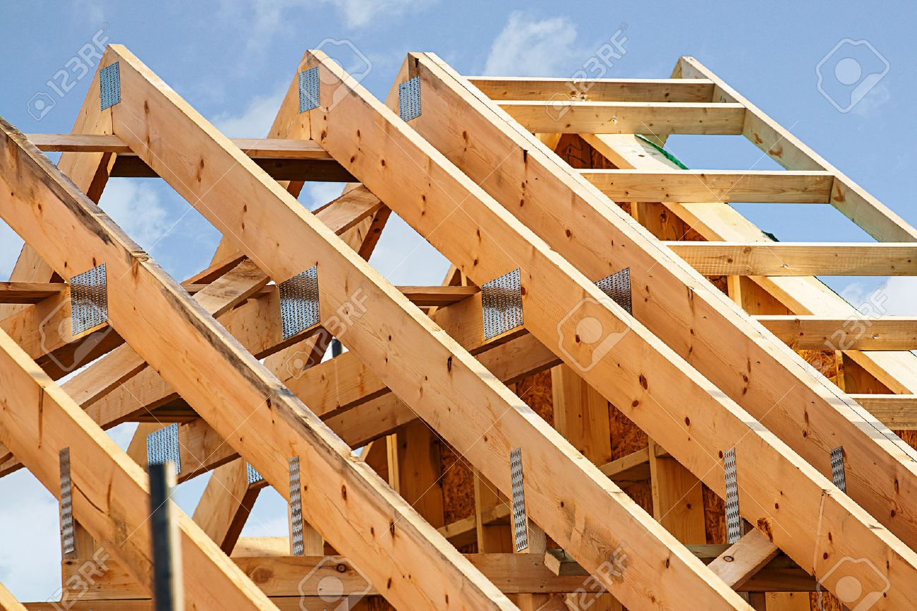 Wood Roof Truss: Standard Timber Framed Building With Close Up On The Roof  Trusses