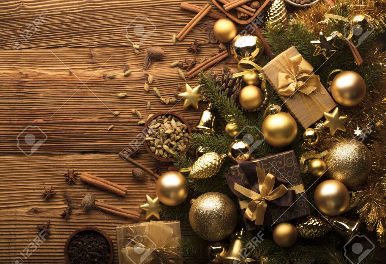 Christmas decoration in golden and brownish aesthetics with presents..