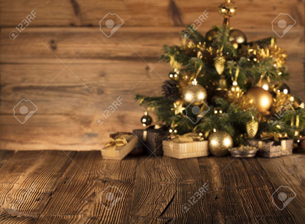 Christmas Decoration In Golden And Brownish Aesthetics With Presents