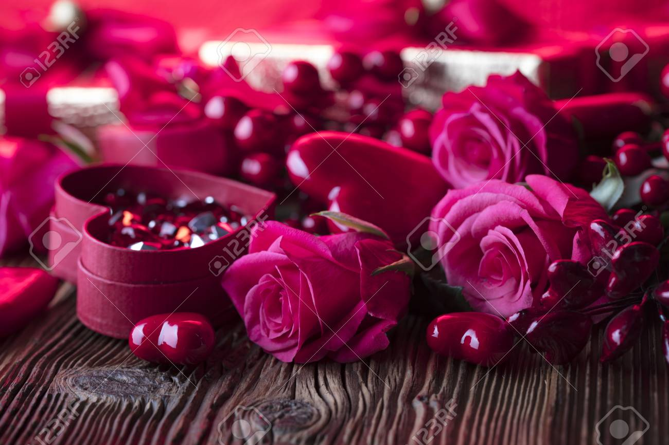 Valentines day background. Hearts, roses, gifts and romantic..