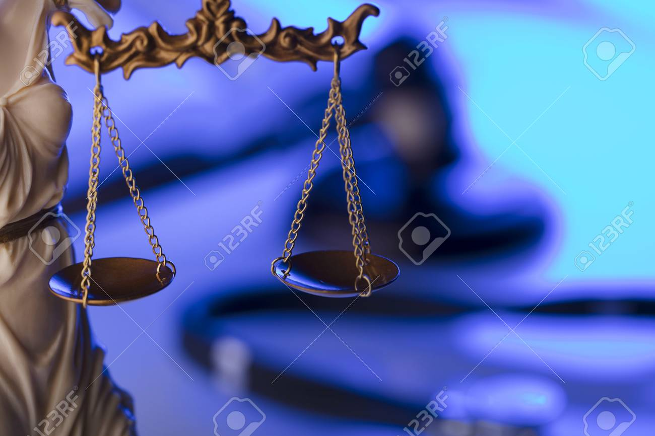 Medical law concept. Statue of justice, gavel and stethoscope, blue light. Place fort text. - 96130401