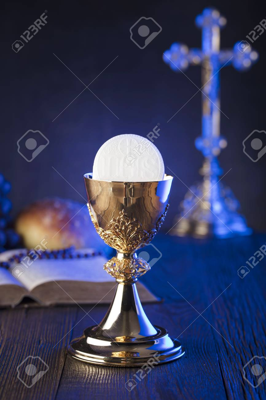 First Holy Communion Theme The Cross Holy Bible Rosary And Golden