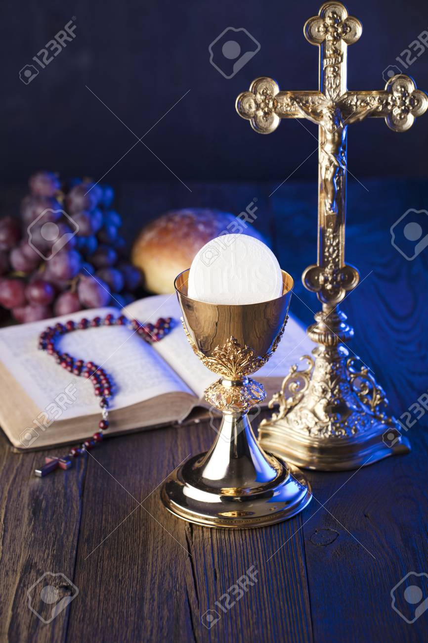 First Holy Communion Theme The Cross Holy Bible Rosary And