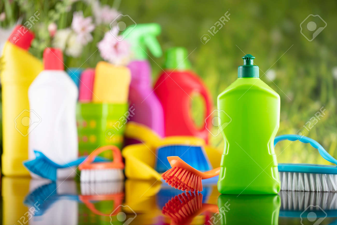 Spring house and office cleaning. Cleaning kit and sources on the glass table. Bokeh background. - 169346895