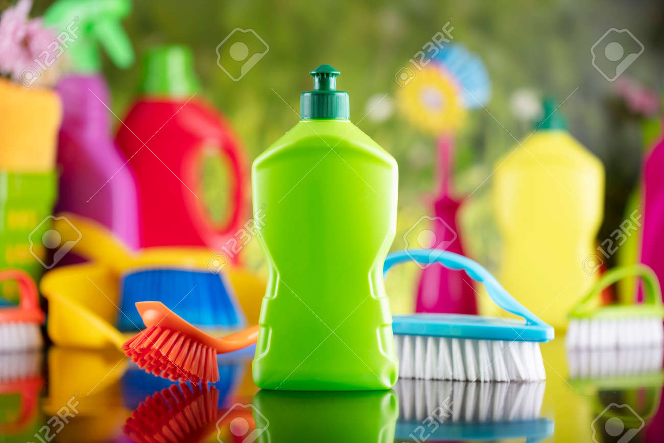 Spring house and office cleaning. Cleaning kit and sources on the glass table. Bokeh background. - 169346901