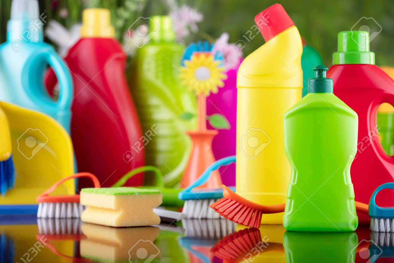 Spring house and office cleaning. Cleaning kit and sources on the glass table. Bokeh background. - 169346902