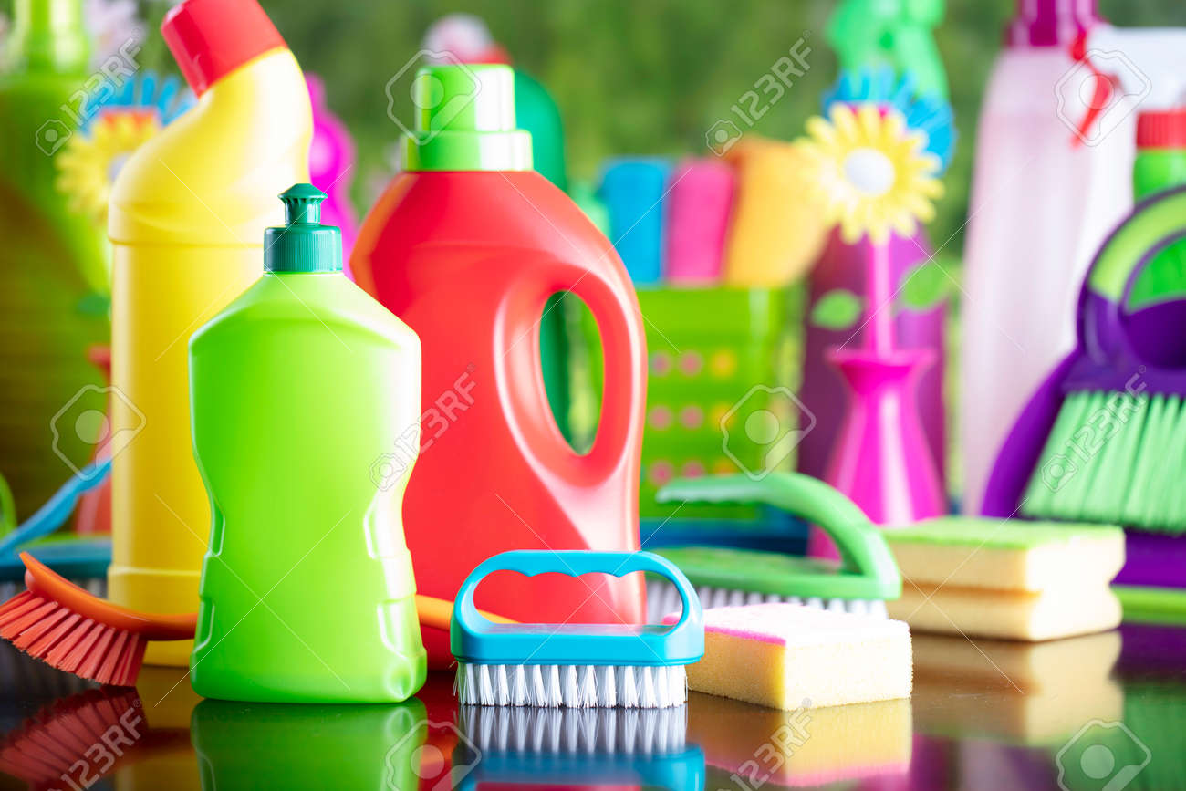 Spring house and office cleaning. Cleaning kit and sources on the glass table. Bokeh background. - 169346956