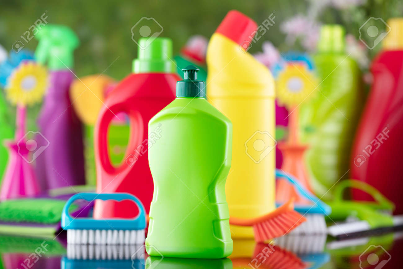Spring house and office cleaning. Cleaning kit and sources on the glass table. Bokeh background. - 169346959