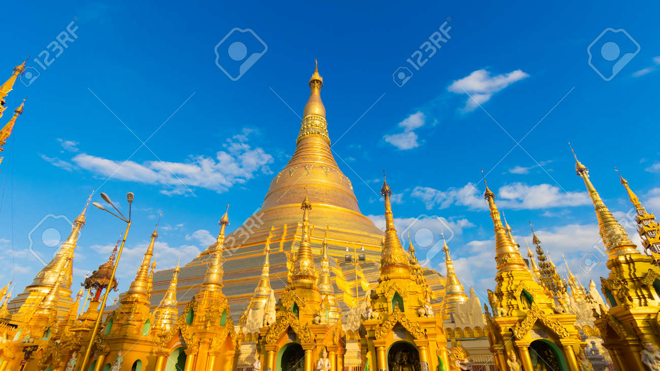 YANGON,MYANMAR-MARCH 15.2017: Buddhist Pilgrims in the Shwedagon Pagoda at night. It is the most sacred Buddhist pagoda for the Burmese. - 149510860