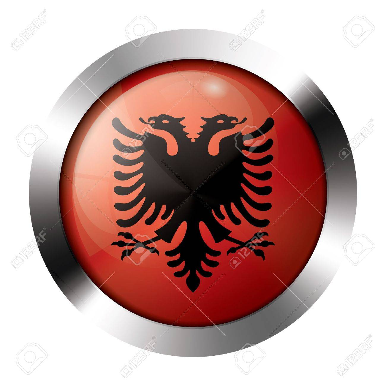Round shiny metal button with flag of albania europe Stock Vector - 15624457