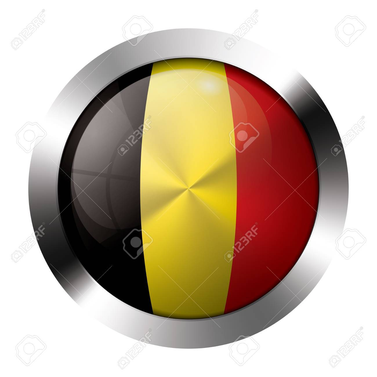 Round shiny metal button with flag of belgium europe Stock Vector - 15624860