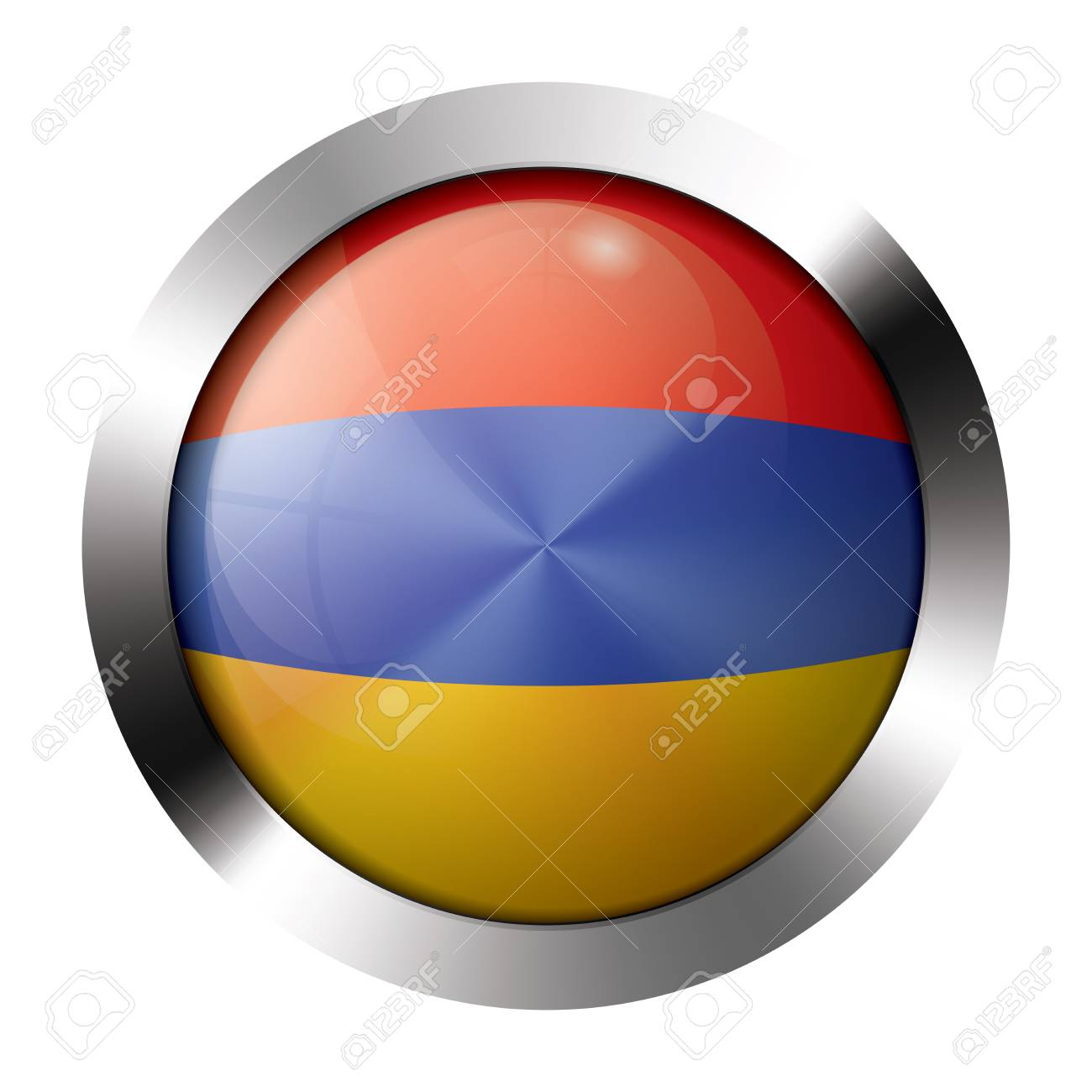 Round shiny metal button with flag of armenia europe. Stock Vector - 15624464