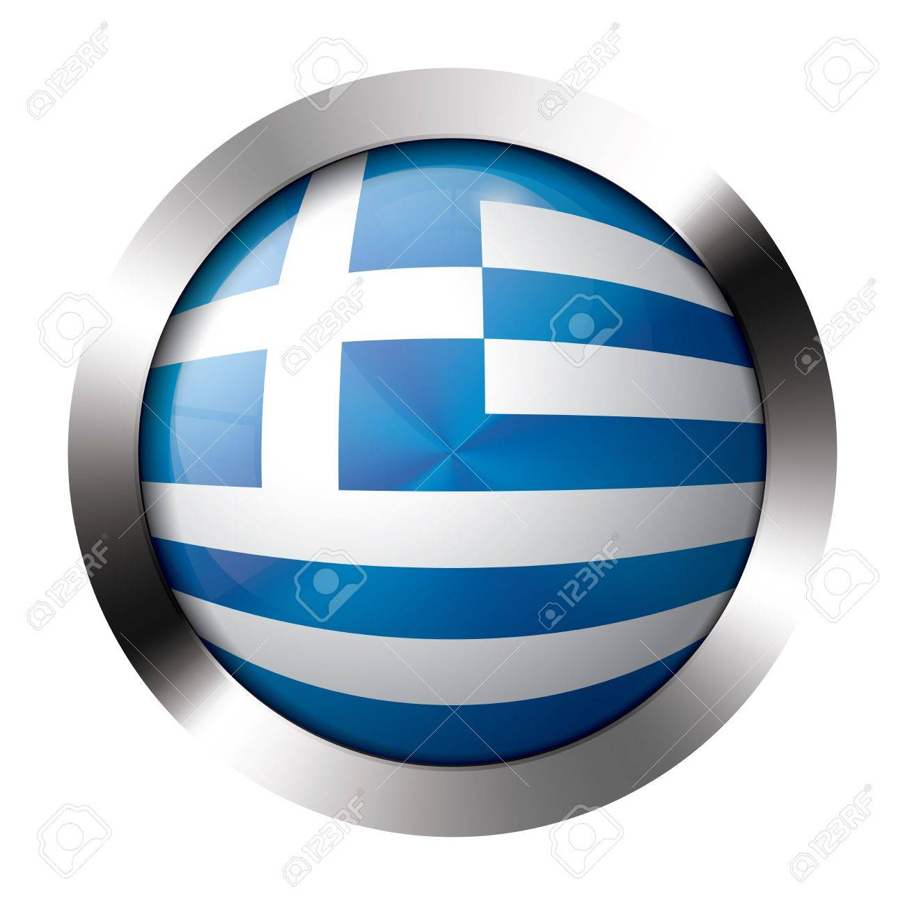 Round shiny metal button with flag of greece europe. Stock Vector - 15658884