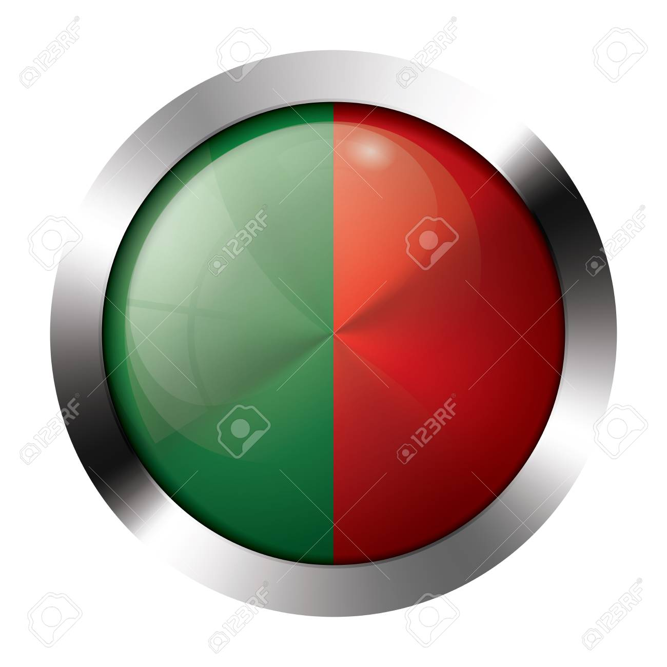 Round shiny metal button with flag of portugal europe. Stock Vector - 15704538