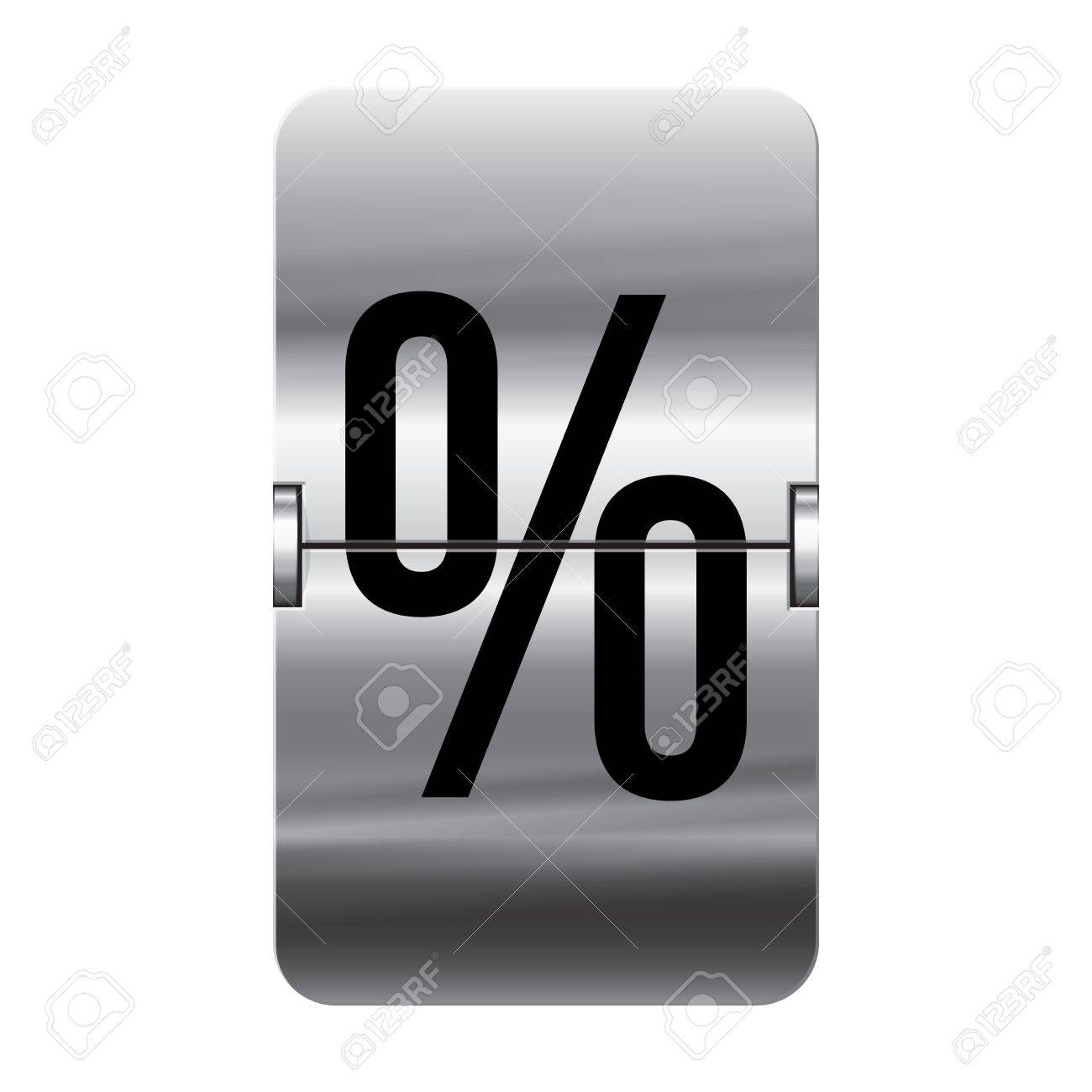 Silver flipboard letter percent from a series of departure board letters. Stock Vector - 15799790