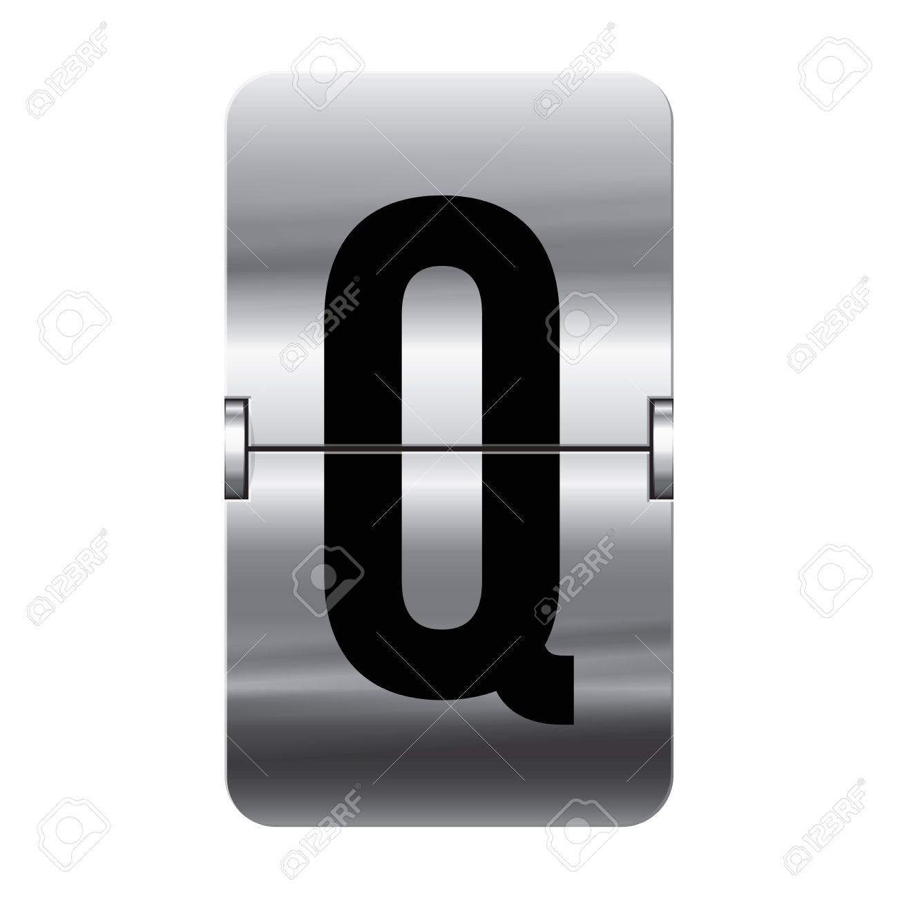 Silver flipboard letter q from a series of departure board letters. Stock Vector - 15799655