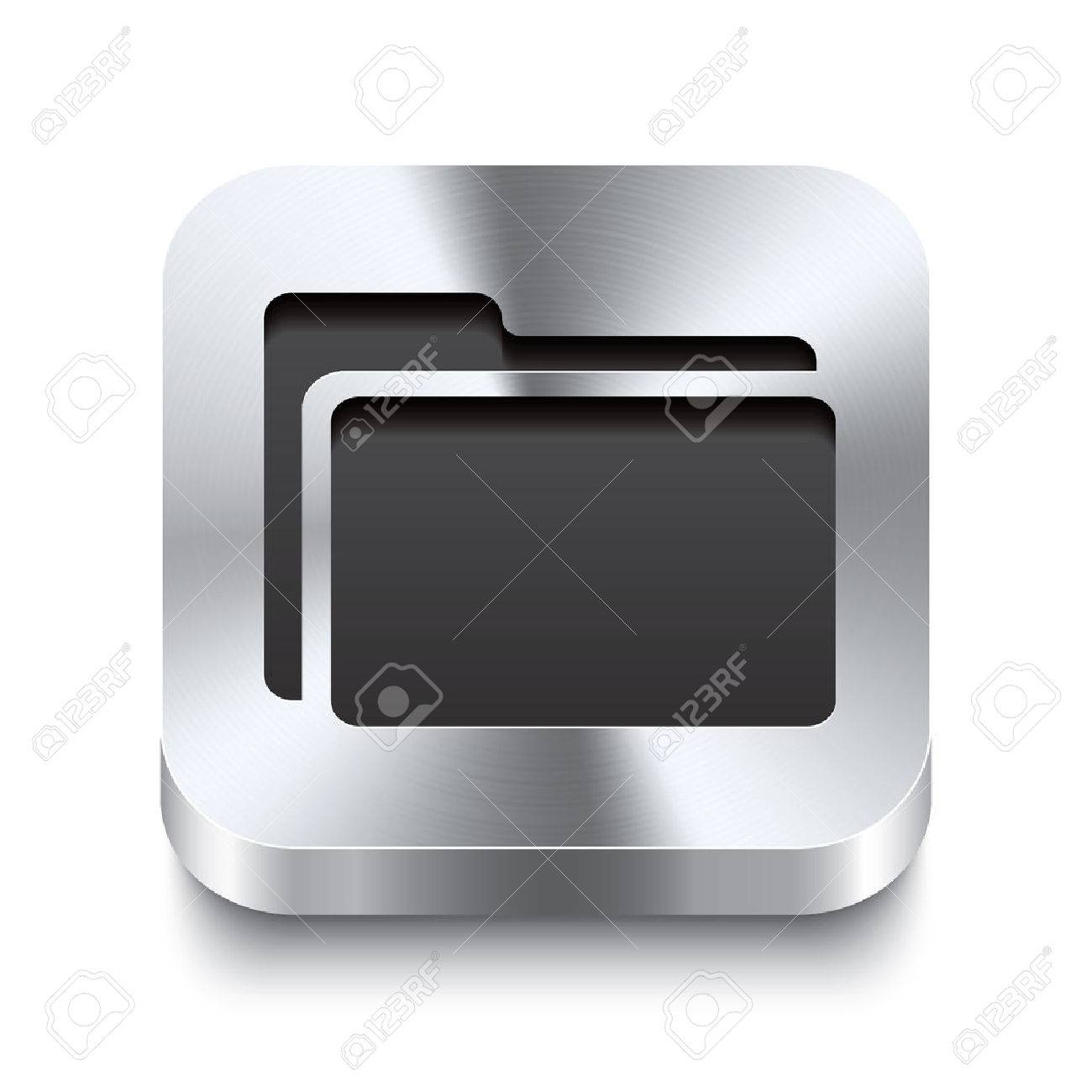 Realistic 3d vector illustration of a square metal button with a folder icon  This brushed steel button is the perfect switch for navigation in any user interface Stock Vector - 23313864