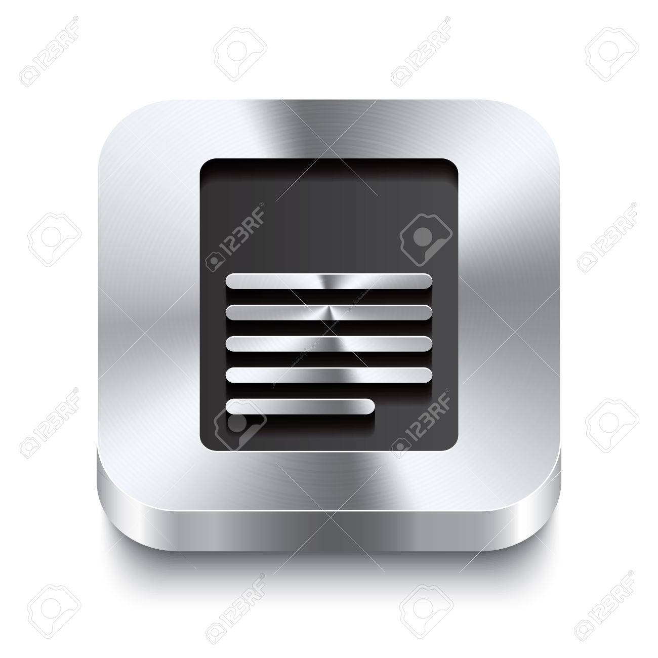 Realistic 3d vector illustration of a square metal button with a page icon  This brushed steel button is the perfect switch for navigation in any user interface Stock Vector - 23314004