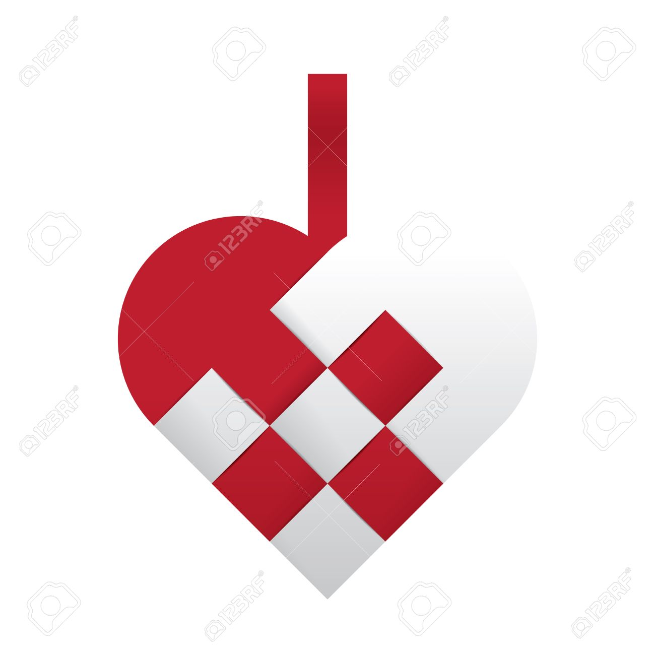 Christmas Heart Vector.Simple Red And White Braided Christmas Heart Shaped Vector Illustration