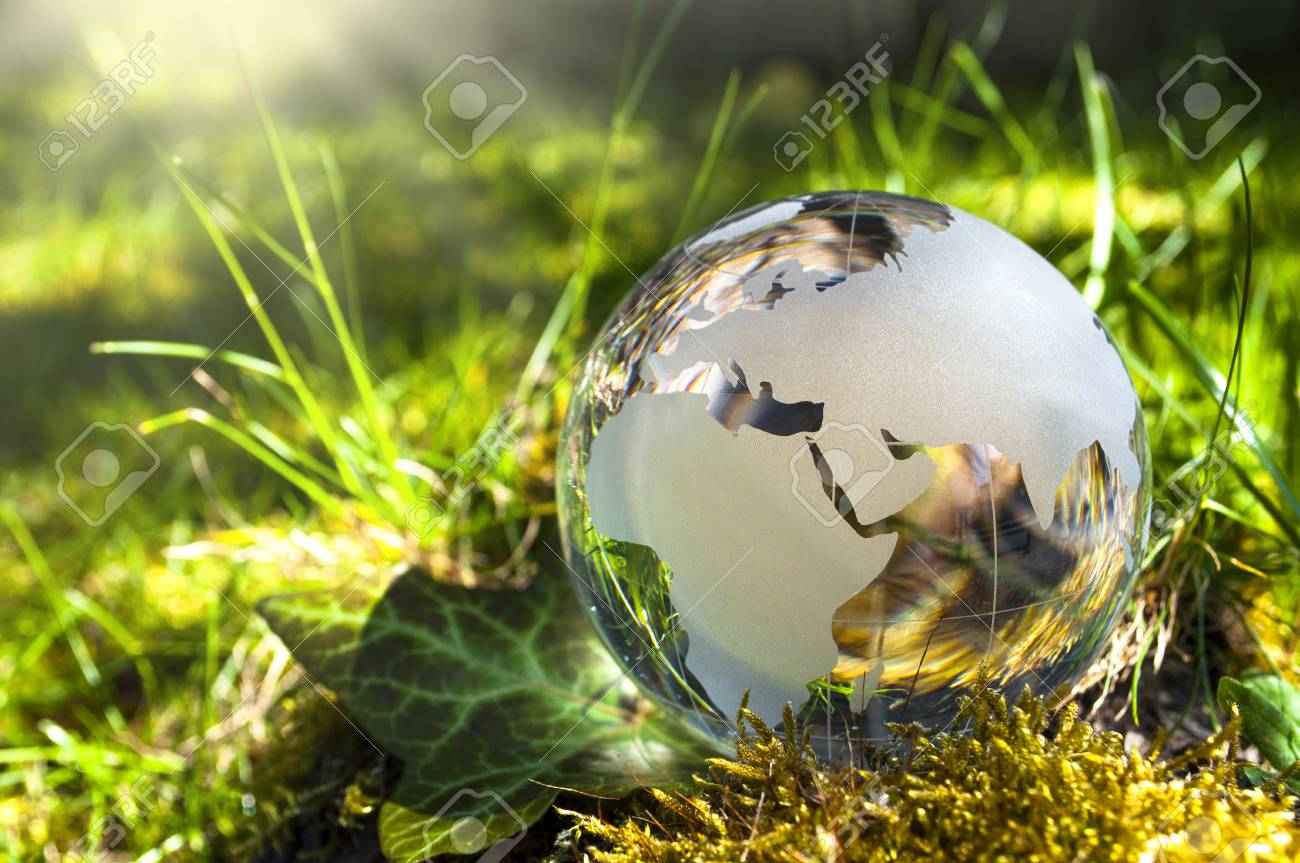 World globe made of glass, earth with grass and sun, nature protection, environmental protection, climate protection - 111298624