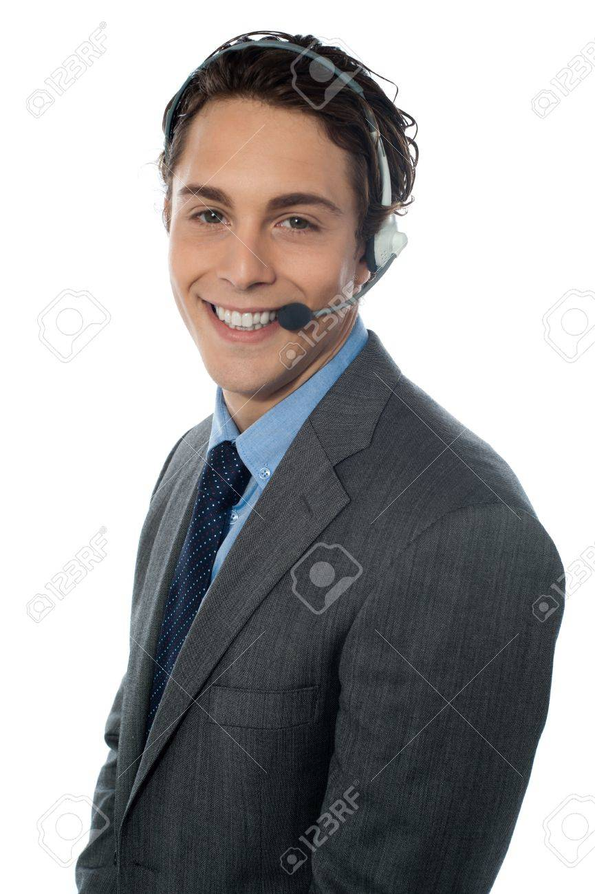 Male customer service representative smiling, isolated on white Stock Photo - 13217504