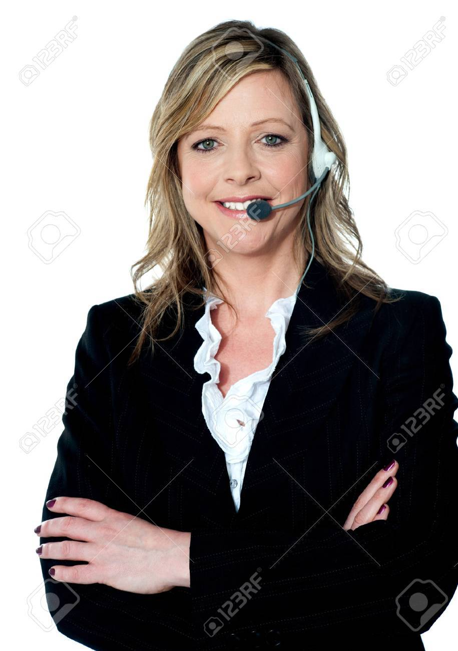 Customer care executive posing with headsets on Stock Photo - 13236767