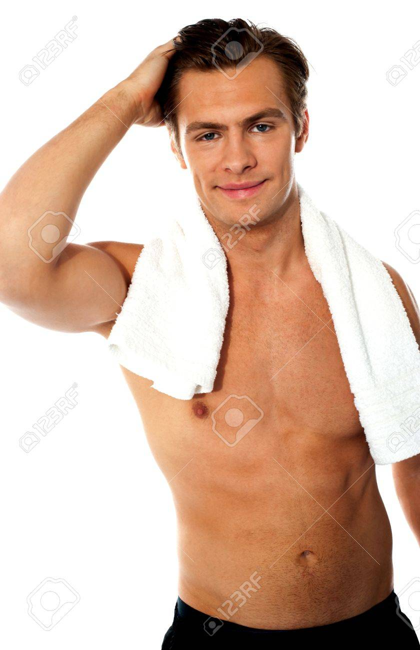 Handsome young shirtless man with white towel around his neck Stock Photo - 13373552
