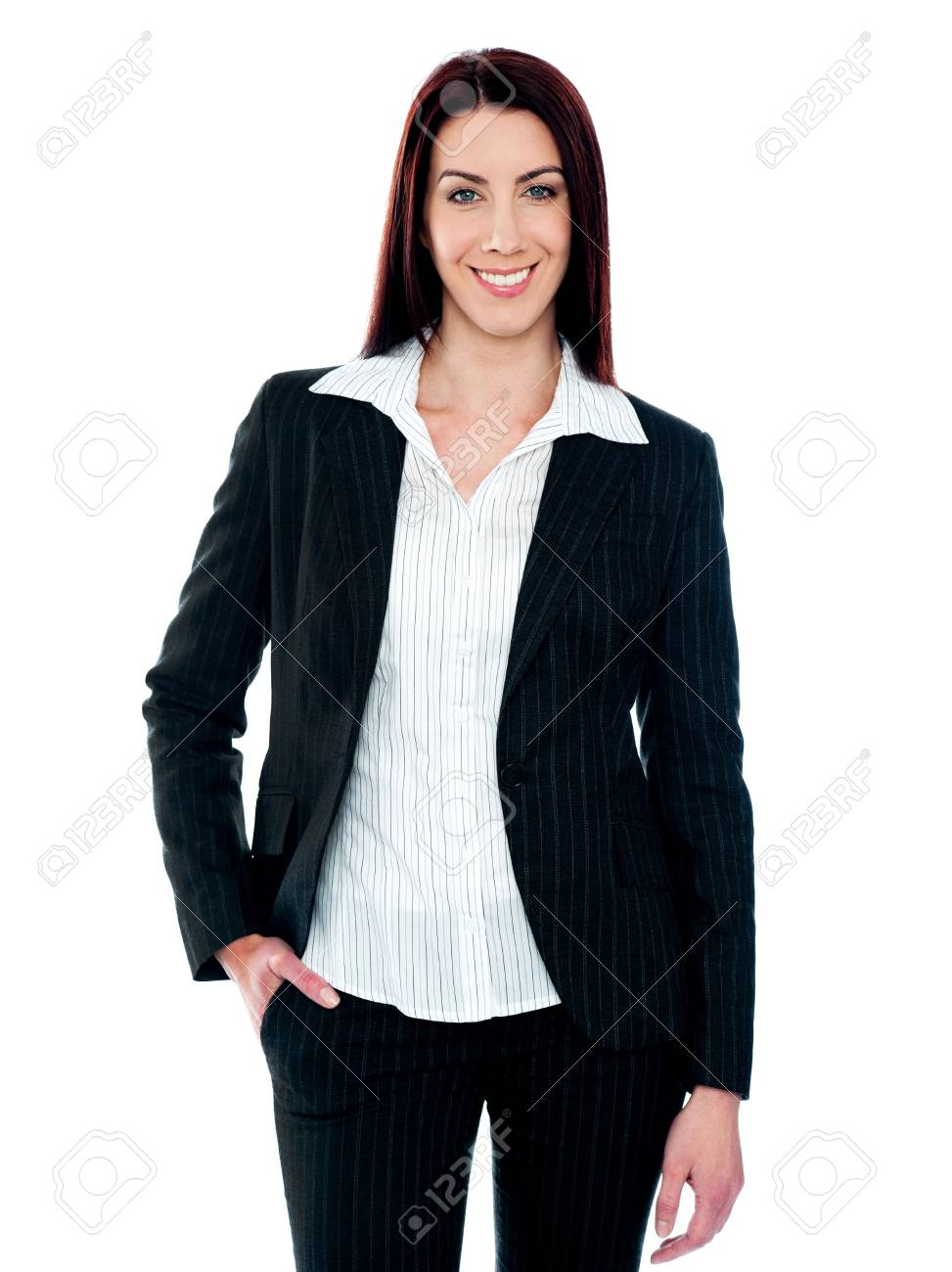Stylish businesswoman posing with hand in pocket isolated against white background Stock Photo - 14063430