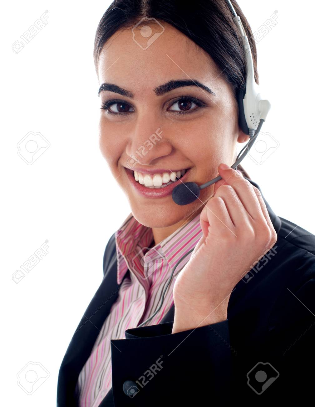 Customer service operator holding mic. Closeup shot Stock Photo - 14087864