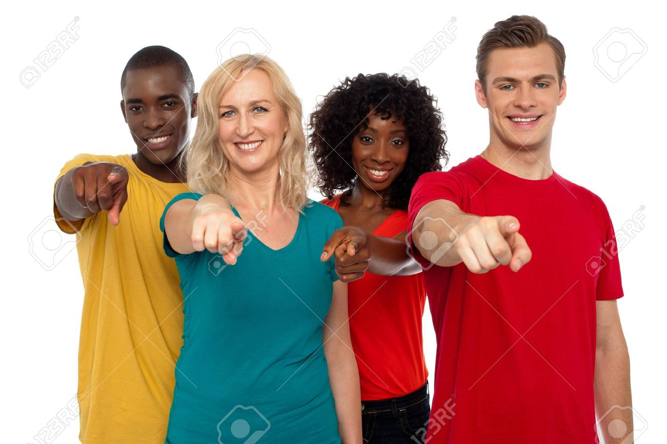 Team of smiling teenagers indicating at you isolated over white background Stock Photo - 14657541
