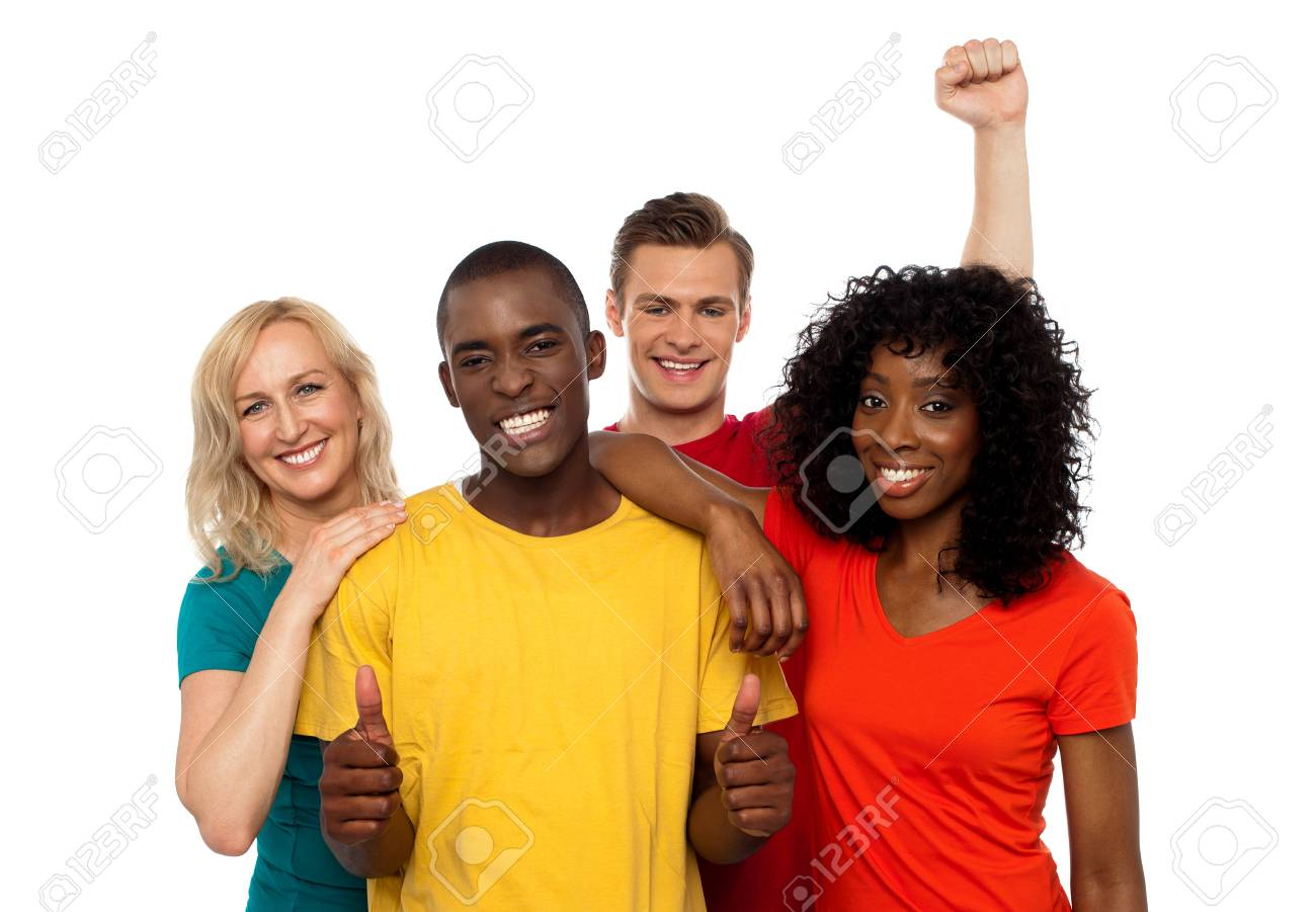 Group of friends enjoying themselves isolated against white background Stock Photo - 14657501