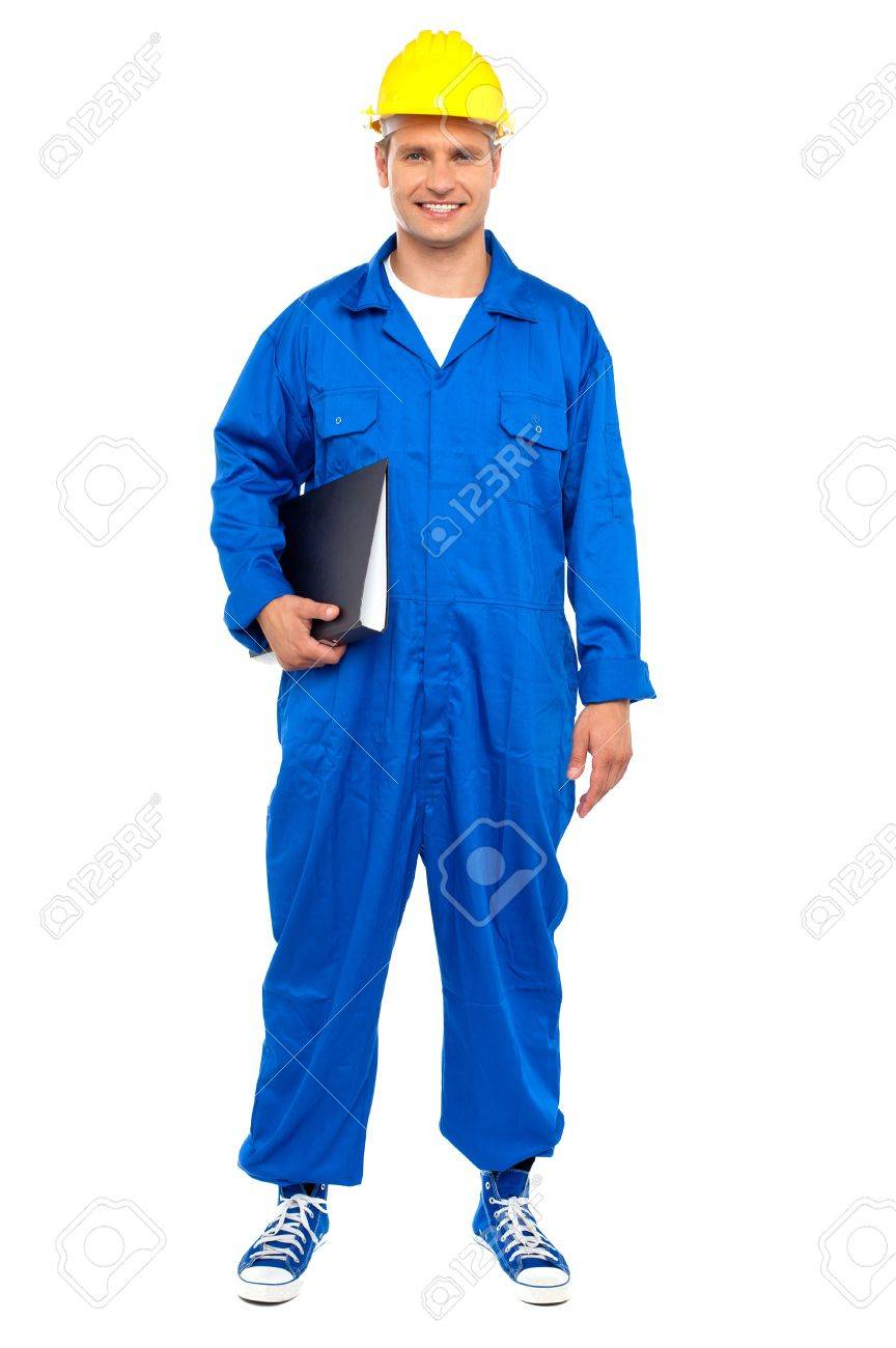 smart industrial worker posing the file folder isolated smart industrial worker posing the file folder isolated over white background stock photo 15030187